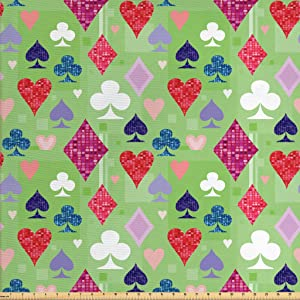 Lunarable Casino Fabric by The Yard, Vibrant Colored Differents of Playing Cards Poker Gamble Club Casino, Decorative Fabric for Upholstery and Home Accents, 1 Yard, Red Black