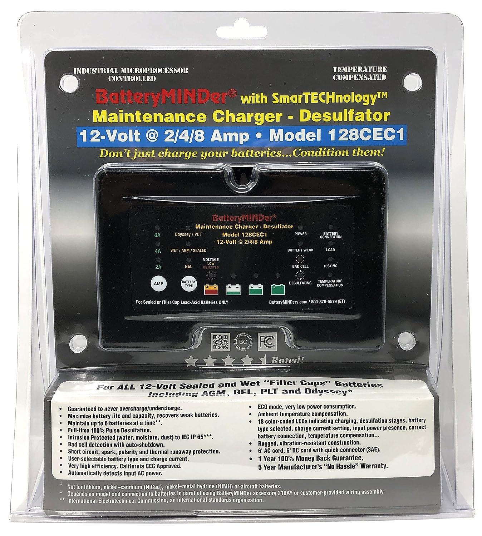 Batteryminder 128cec1 12v 2 4 8 Amp Battery Charger Thermal Controlled Maintainer Desulfator Designed For Cars Trucks Motorcycles Atv Boats Rv Jet Skis