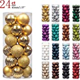 "KI Store 24ct Christmas Ball Ornaments Shatterproof Christmas Decorations Tree Balls SMALL for Holiday Wedding Party Decoration, Tree Ornaments Hooks included 1.57"" (40mm Gold)"