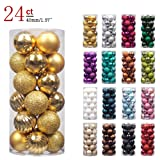 """Amazon Price History for:KI Store 24ct Christmas Ball Ornaments Shatterproof Christmas Decorations Tree Balls SMALL for Holiday Wedding Party Decoration, Tree Ornaments Hooks included 1.57"""" (40mm Gold)"""