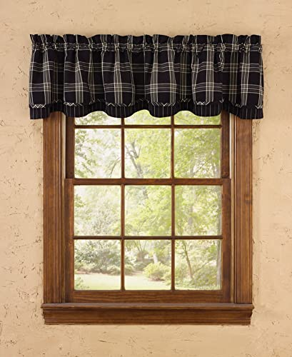 Park Designs Black Coffee Lined Layered Valance, 72 x 16