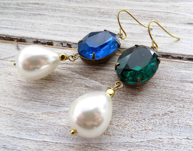 Pendientes de cristal swarovski azul y verde, pendientes de perlas blancas, pendientes colgantes, pendientes de lagrima, joyas de piedras semi preciosas, joyas para mujer