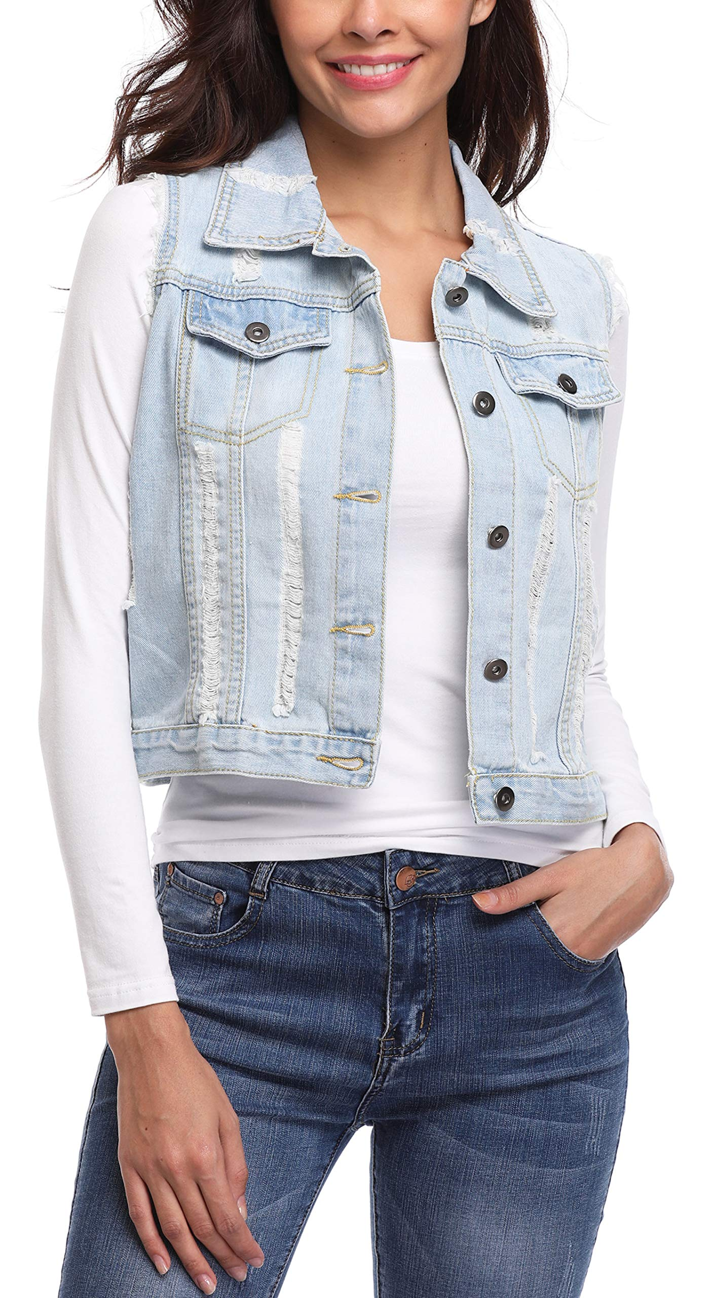MISS MOLY Women's Sleeveless Denim Jacket Vest Turn Down Collar Buttoned Frayed Washed w 2 Chest Flap Pockets Light Blue XL by MISS MOLY (Image #2)