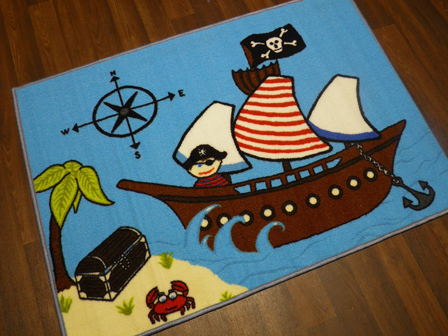Non Slip Kids Pirate Play Mat //Rug 75cm x 112cm Hours Of Fun