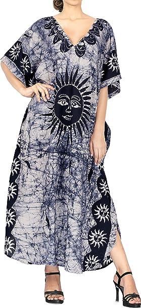 LA LEELA Mujeres Caftán Algodón túnica Batik Kimono Libre tamaño Largo Maxi Vestido de Fiesta para Loungewear Vacaciones Ropa de Dormir Playa Todos los días Cubrir Vestidos NG