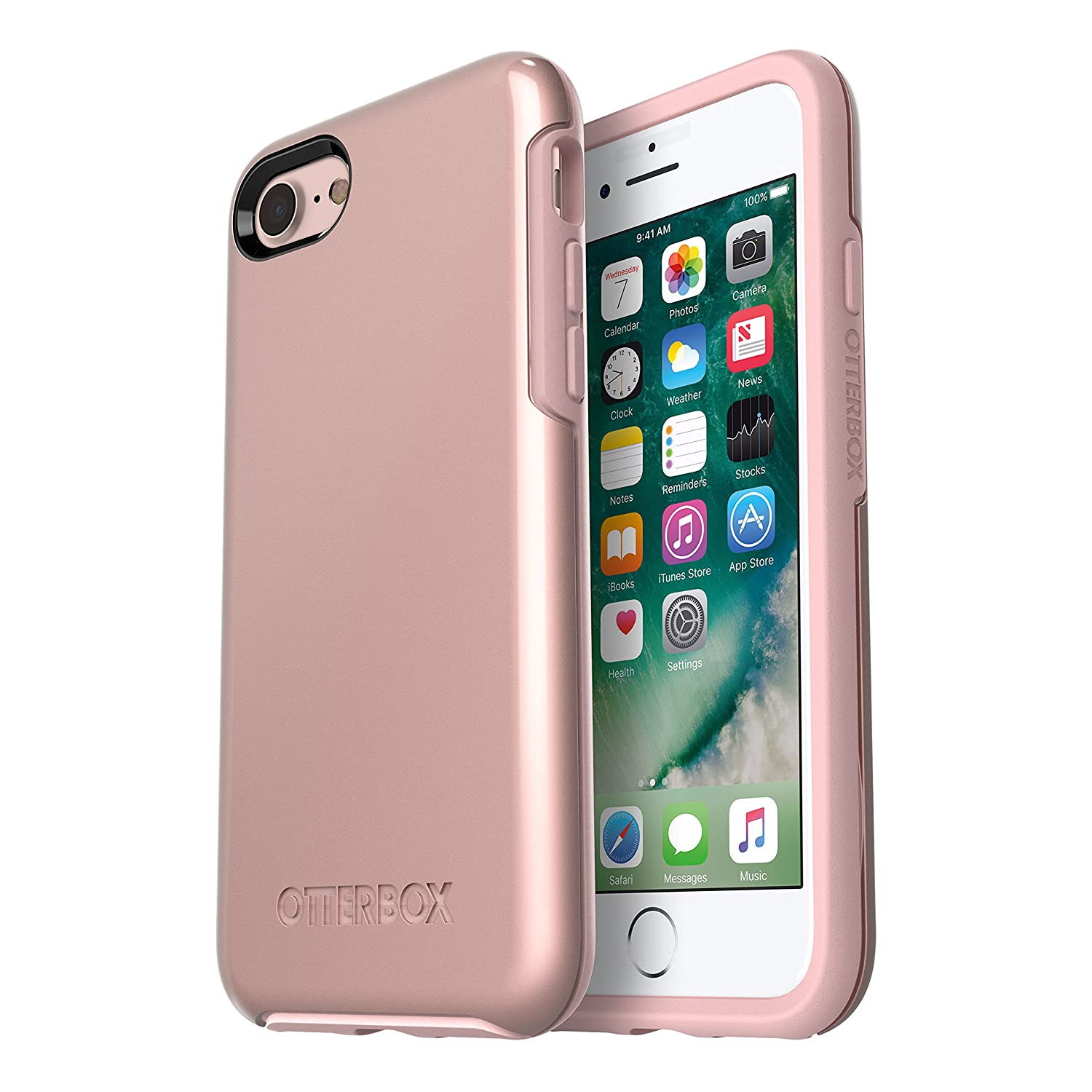 OtterBox SYMMETRY SERIES Case for iPhone 8 & iPhone 7 (NOT Plus) - Retail Packaging - ROSE GOLD (PALE PINK/ROSE GOLD GRAPHIC) 77-55963