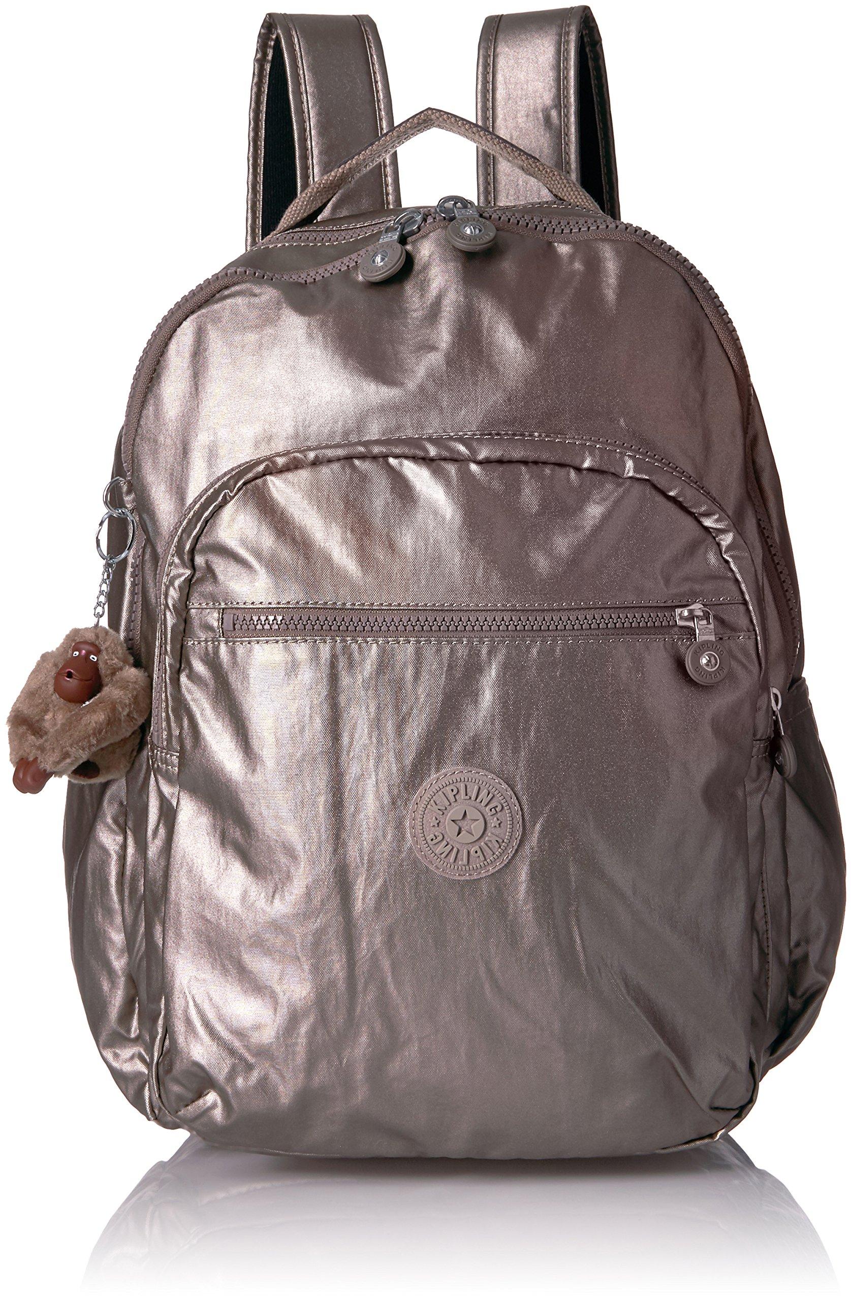 Seoul L Solid Laptop Backpack, Metallic Pewter