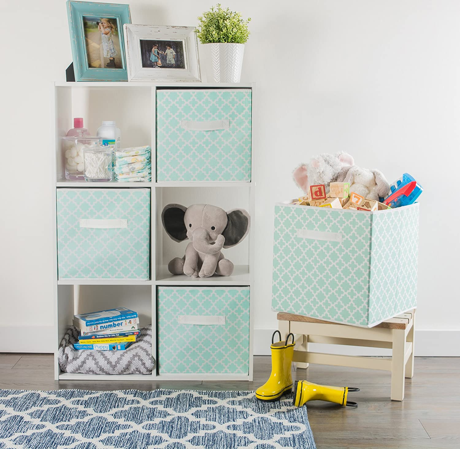 Cube Organizers /& Everyday Storage Needs, DII Foldable Fabric Storage Containers for Nurseries Home Decor Large - 11 x 11 x 11 Aqua Lattice Offices Closets Set of 2