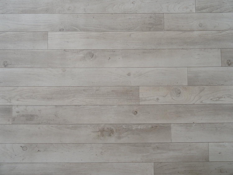 PVC in Holzdielen-Optik wei/ß-grau L/änge: 550 cm, Breite: 400cm von Alpha-Tex 9.95/€//m/²