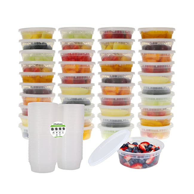 Freshware 40-Pack 8 oz Plastic Food Storage Co...