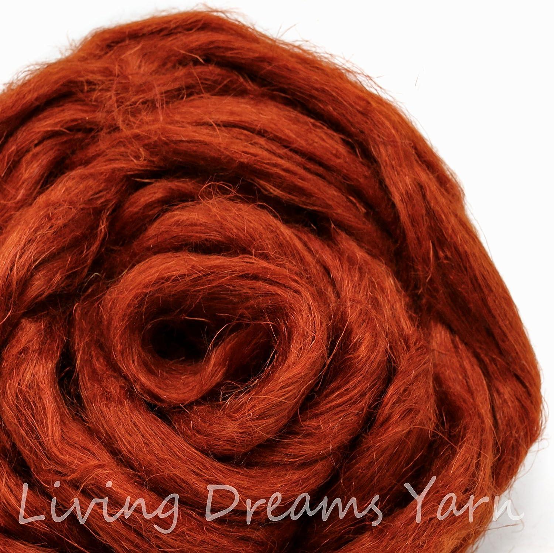 Natural Vegan Combed Top Flax Fiber for Spinning Felting /& Fiber Arts Rust Blending