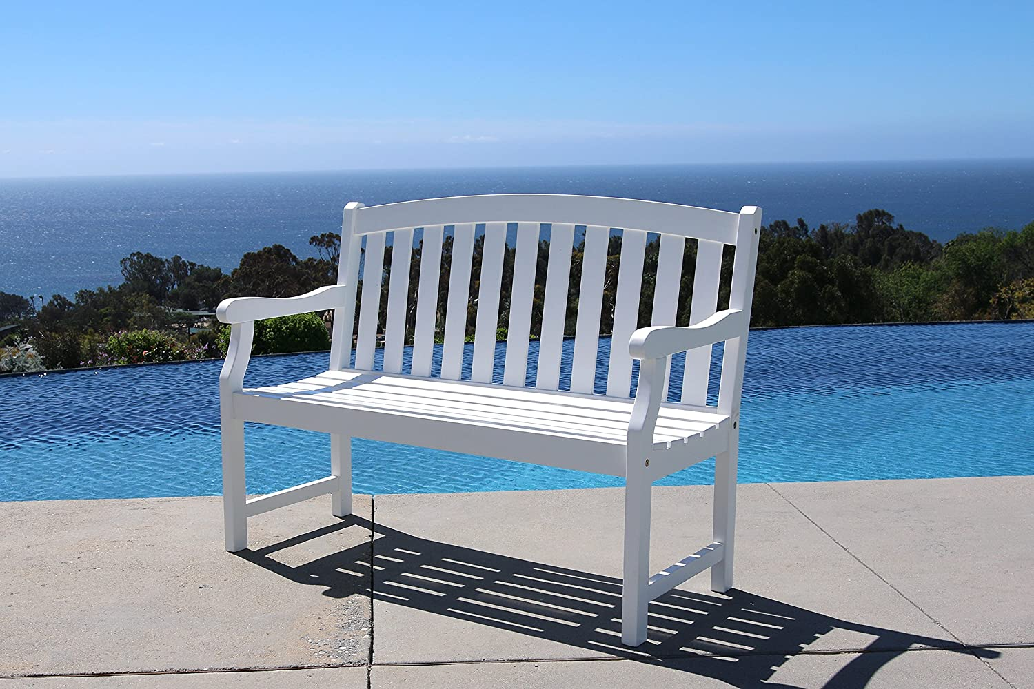 Vifah V1629 Harley 4-Foot Garden Bench, White