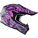 Vega Helmets VF1 Lightweight Dirt Bike Helmet – Off-Road Full Face Helmet for ATV Motocross MX Enduro Quad Sport, 5 Year Warranty (Pink Skull Camo, Large)