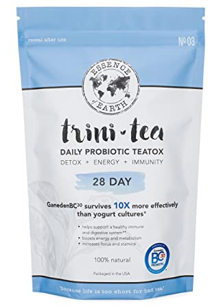 Probiotic Detox Tea For Weight Loss Remove Toxins, Flatten Tummy, Improve Digestive Health, Increase Energy, Burn Fat. Organic Teatox Cleanse Detox Energy Immunity 28 Day Supply