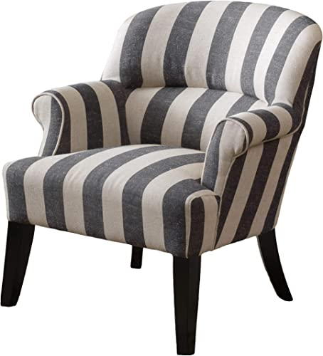 Christopher Knight Home Drew Fabric Club Chair in Beige and Slate Grey Stripe