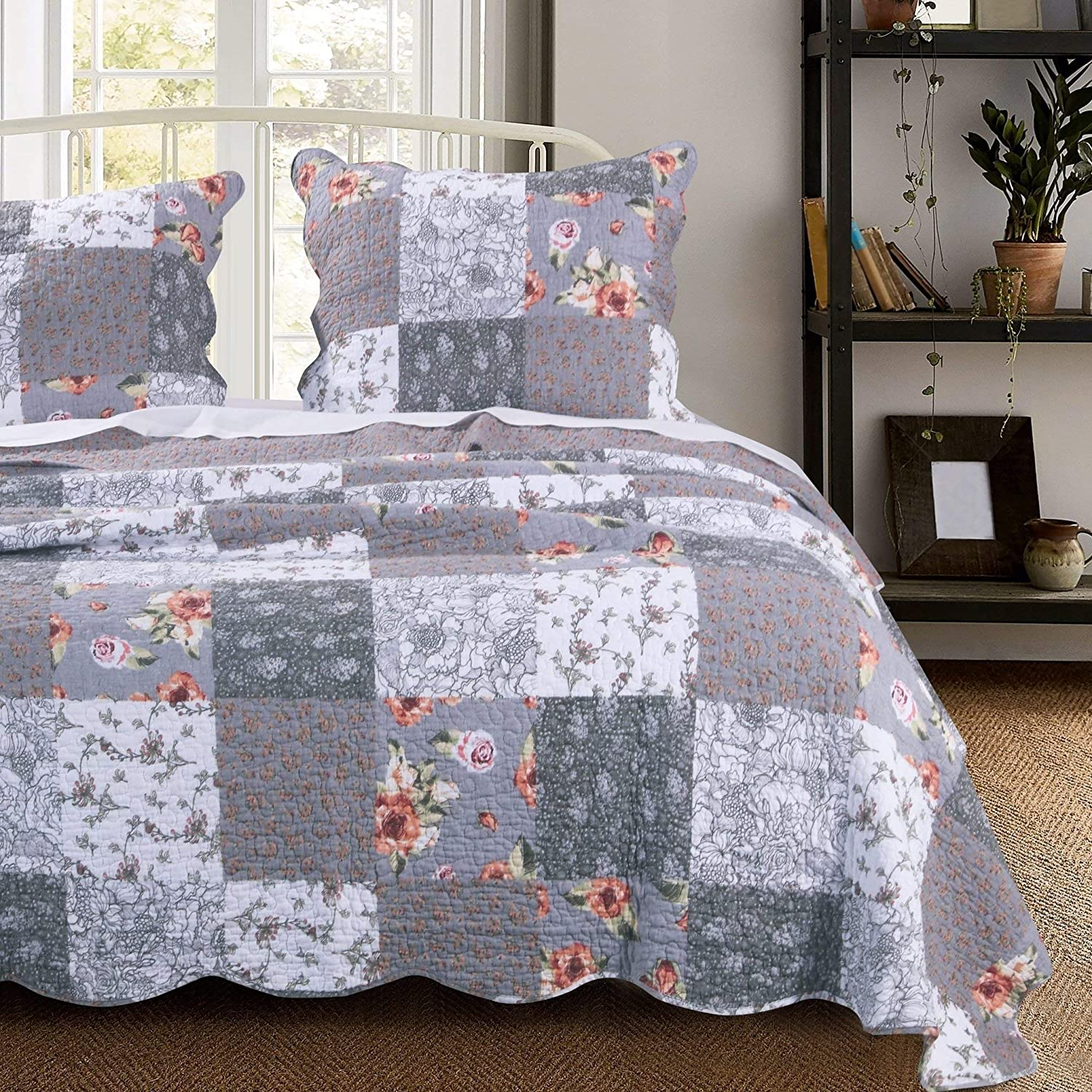 Amazon Com Misc 3 Piece Gray Patchwork Quilt King Size Set Farmhouse Theme Floral Plaid Square Checks Pattern Bedding Oversized And Reversible To Flowers Print Home Kitchen