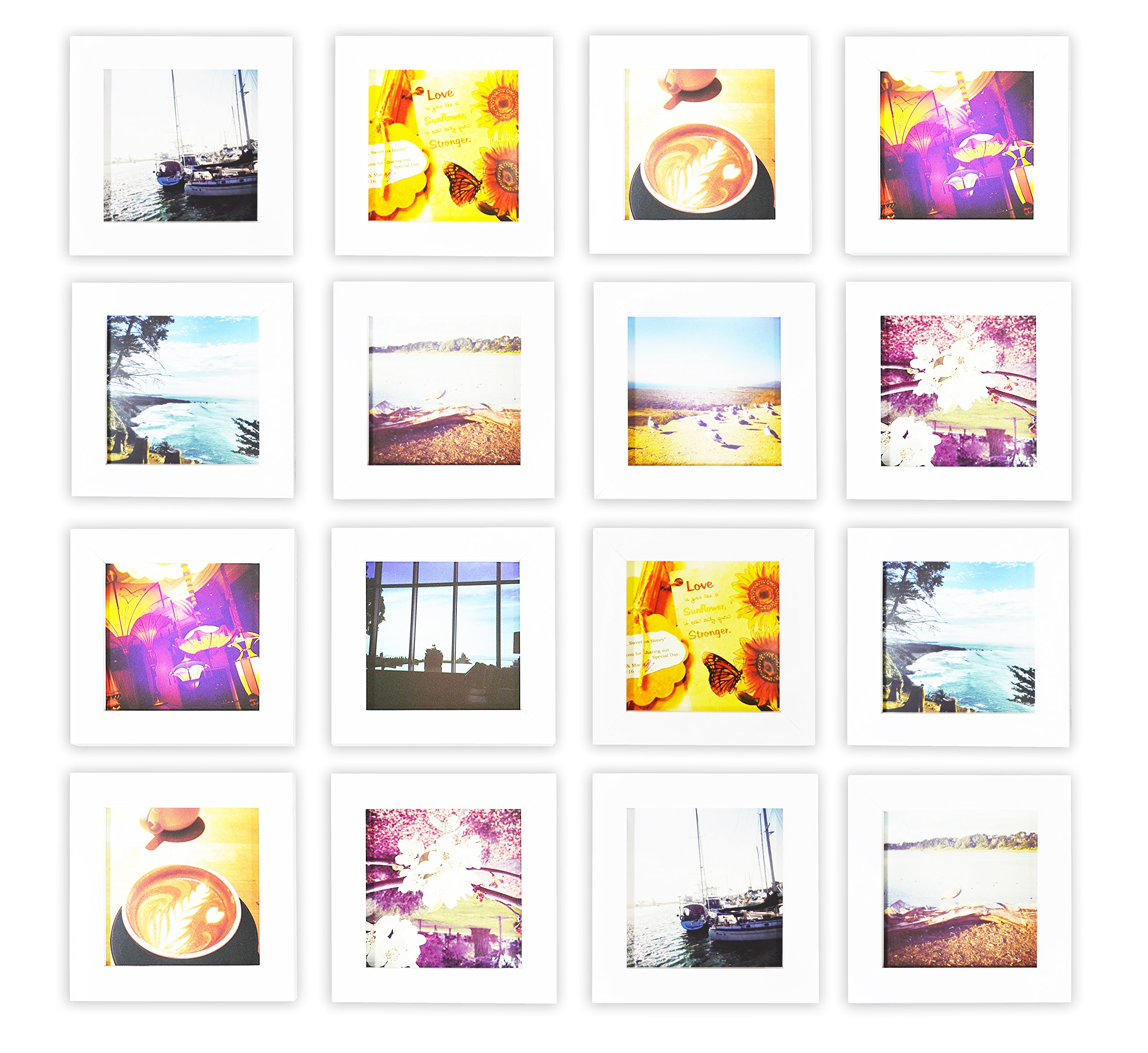 Golden State Art, Smartphone Instagram Frame Collection, Set of 16, 4x4-inch Square Photo Wood Frames, White by Golden State Art