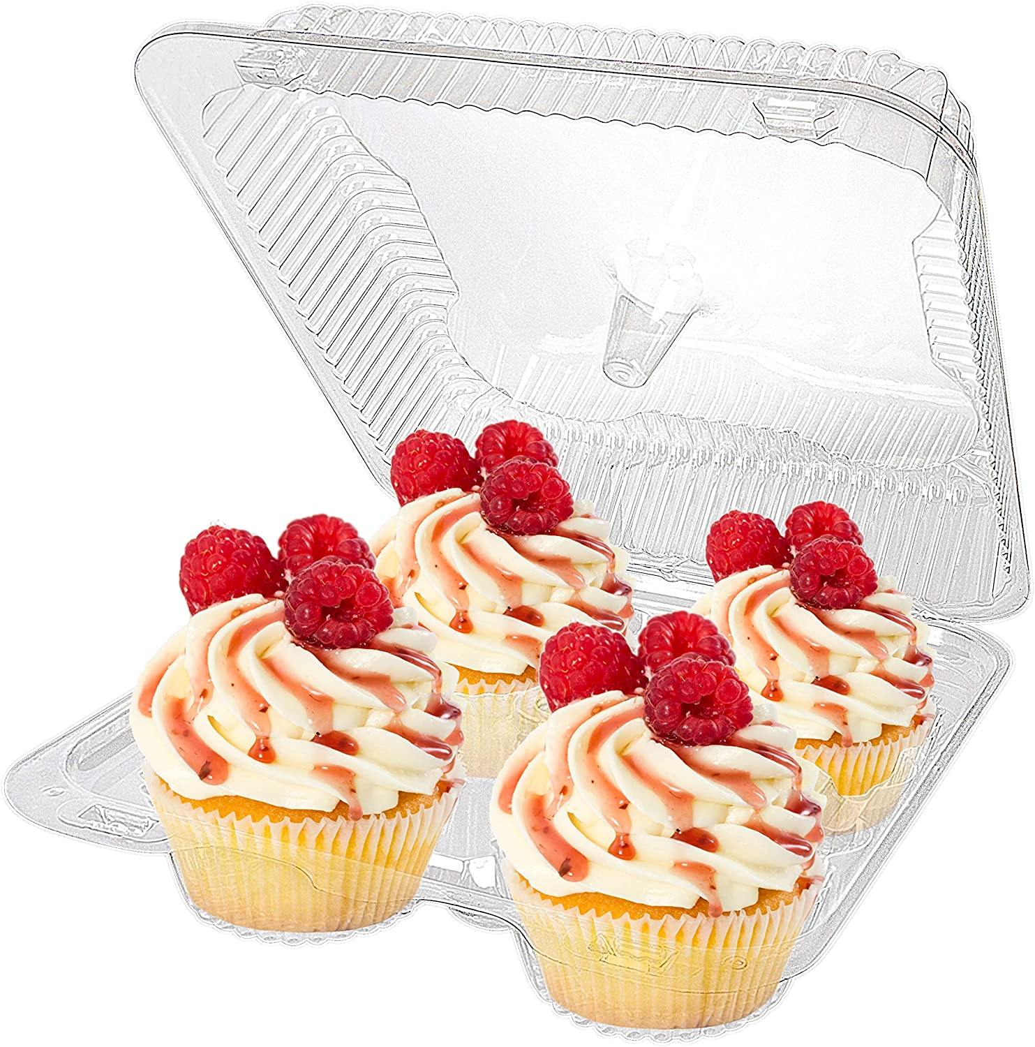 Stock Your Home 4-Compartment Disposable Containers (40 Count) - Plastic Cupcake Containers - Disposable Trays for Cupcakes & Muffins - Hinged Lock Cupcake Clamshell - Deep Cups for Cupcake Storage