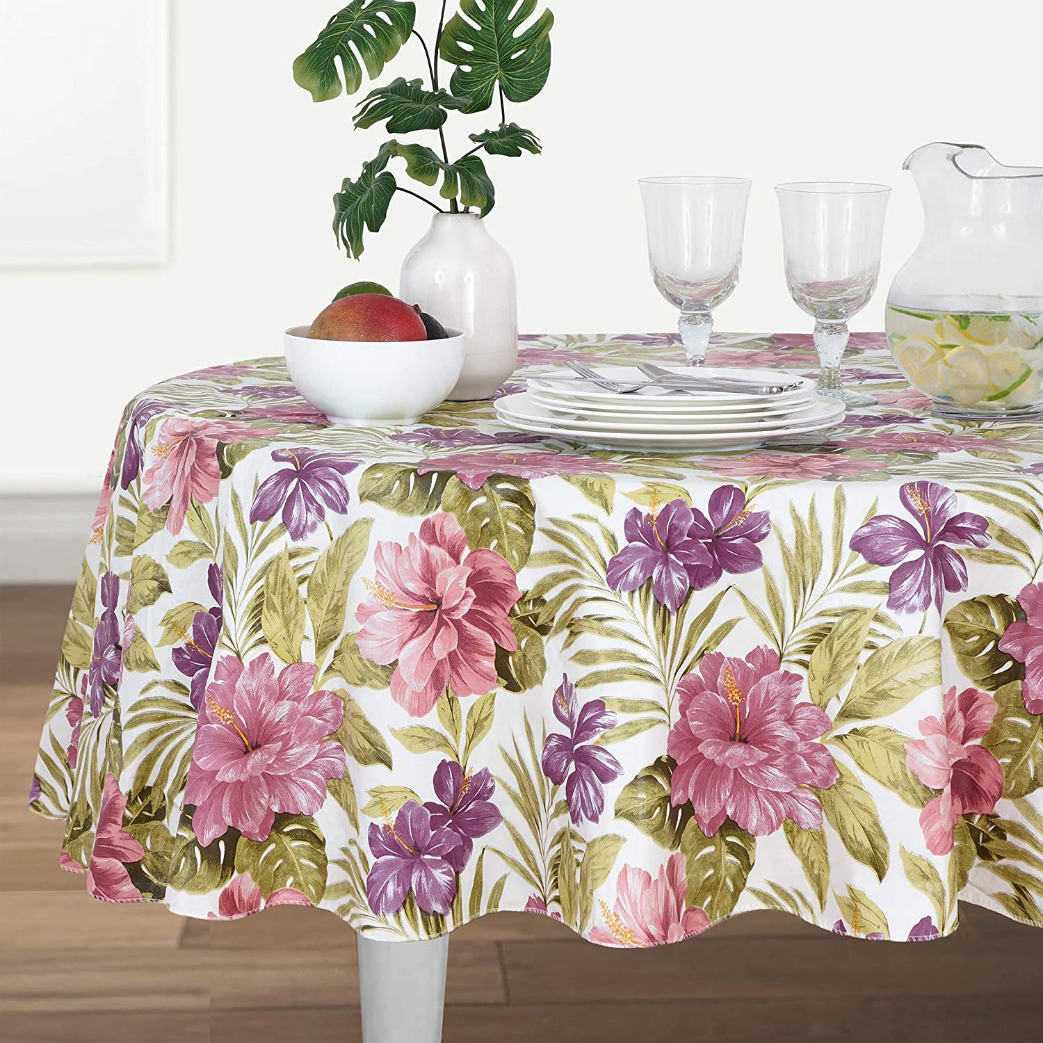 "Elrene Home Fashions Island Oasis Stain Resistant Vinyl Tablecloth 52/"" x 70/"""