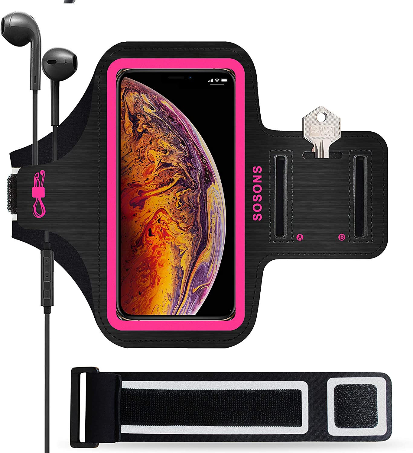 iPhone Xs Max Armband,SOSONS 6.5 Inch Water Resistant Sports Gym Armband for iPhone Xs Max.Fingerprint Touch Supported and Fits Smartphones with Slim Case,with Card Pockets + Extension Strap(Pink)