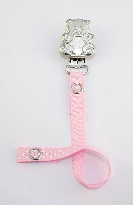Cadena para chupete - 4060 - {rosa bebé lunares - peluche ...