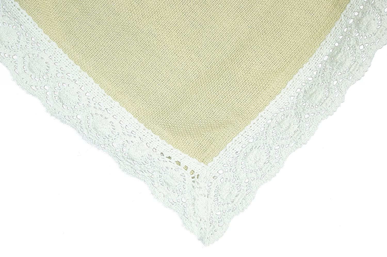 Christmas Tablescape Décor - Granny's 100% washable cotton burlap lace trimmed tablecloth