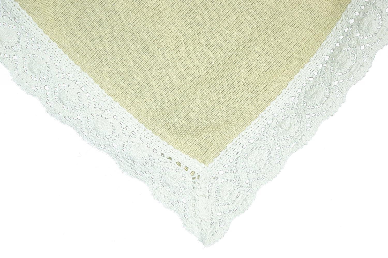 Christmas Tablescape Décor - Granny's 100% washable cotton burlap lace trimmed tablecloth