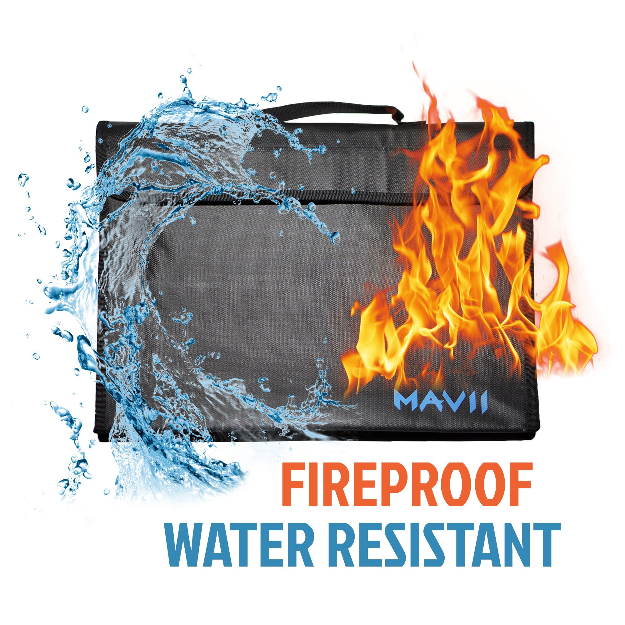 Mavii Fireproof Bag, Fireproof, Water Resistant Document, Safe Storage (Included Shoulder Strap)