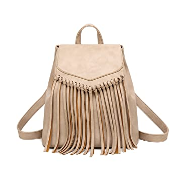 8cee8e0be396 Amazon.com  Tassel PU Leather Backpack Vintage Women Fringe Tassel Daypack  Casual Travel Hobo Bag  Zebella