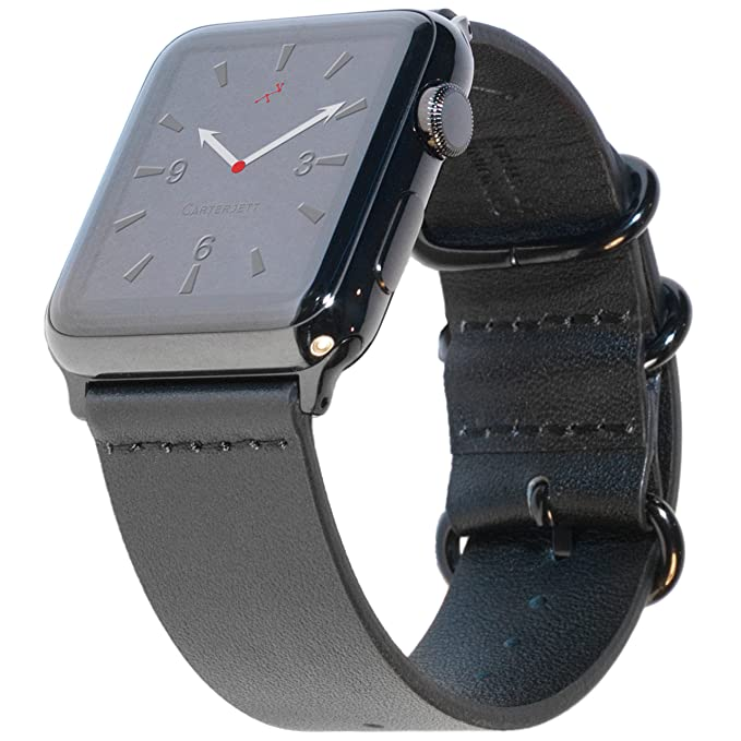 08d3e80f61f7 Carterjett XL XXL Compatible Apple Watch Band 42mm 44mm Black Genuine  Leather iWatch Band Replacement