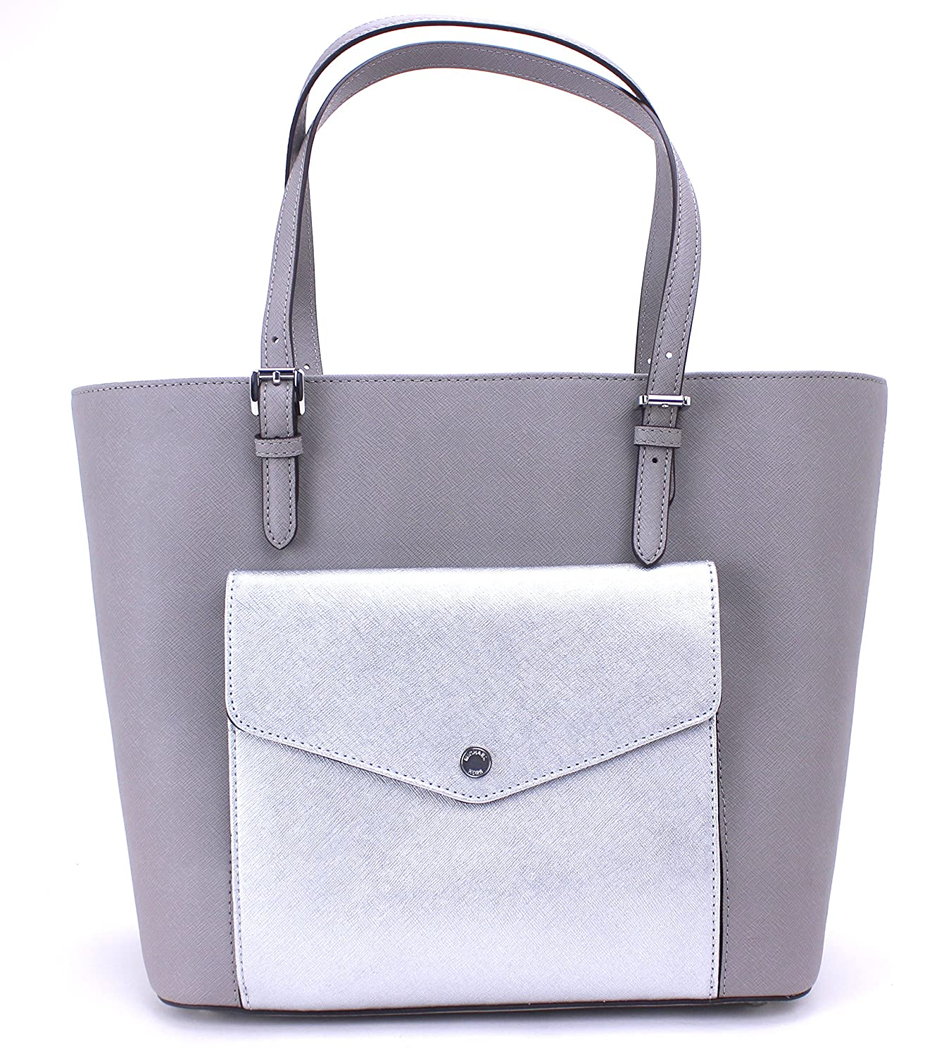0b3823bdac6185 Amazon.com: Michael Kors Jet Set Large Pocket MF Tote Saffiano Leather  (Pearl Grey/Silver): Shoes