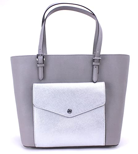 2180da401f85 Amazon.com: Michael Kors Jet Set Large Pocket MF Tote Saffiano Leather  (Pearl Grey/Silver): Shoes