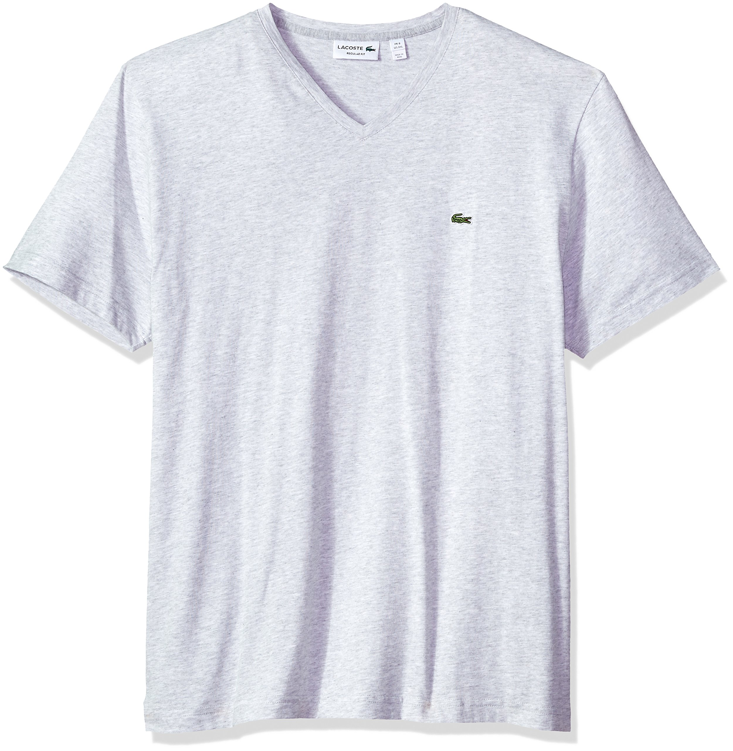 Lacoste Men's Fine Stripe Short Sleeve T-Shirt, TH6810, Silver Chine/White, XX-Large