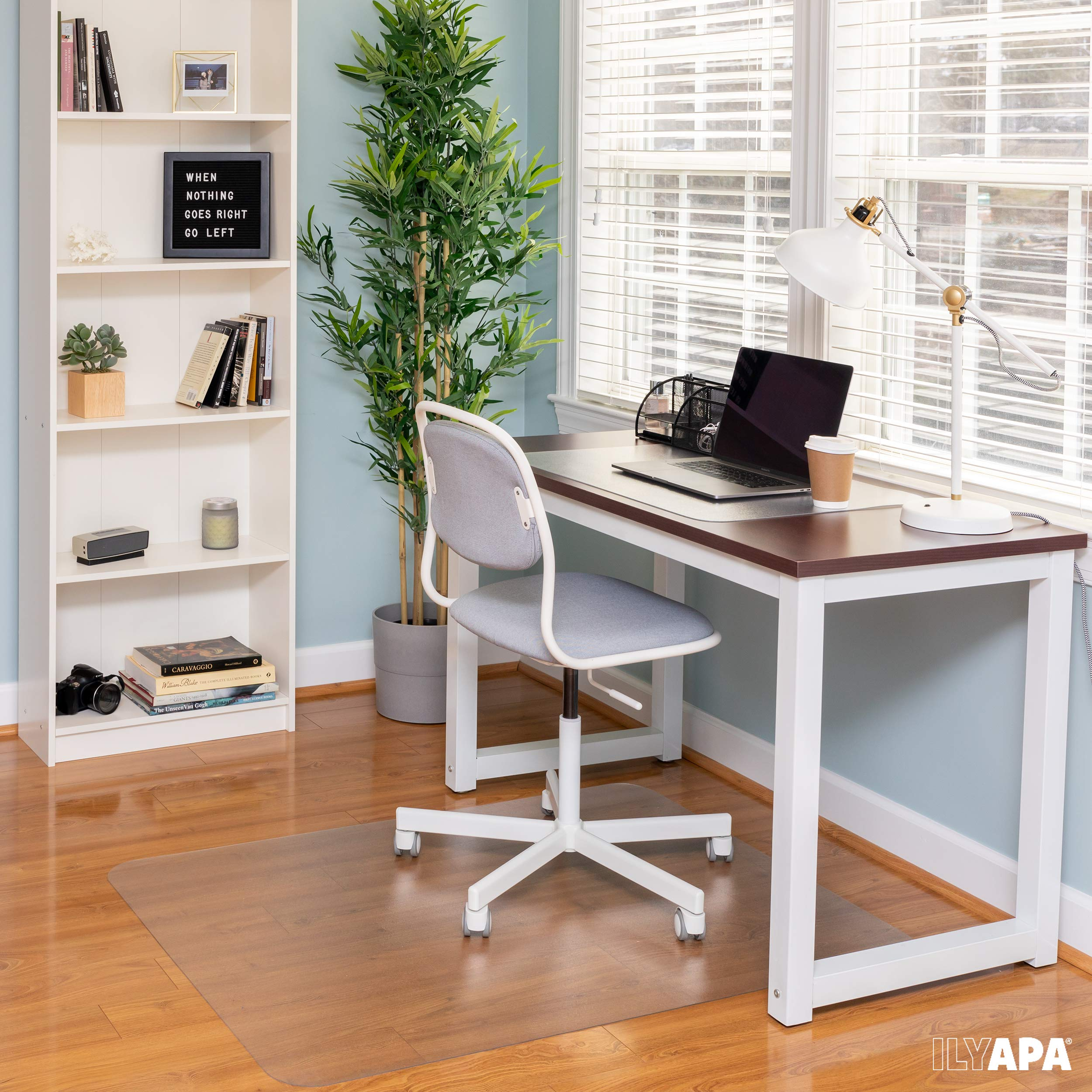 Office Chair Mat for Hard Floors 59 x 47 - Clear Hardwood Mat for Desk Chairs by Ilyapa (Image #6)