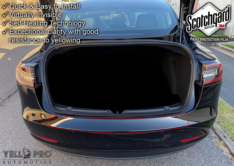 Yellopro Auto Tesla Model 3 Custom Fit 3m Scotchgard Pro Trunk Rear Bumper Edge Protector Ppf Clear Bra Paint Anti Scratch Guard Self Healing Decal