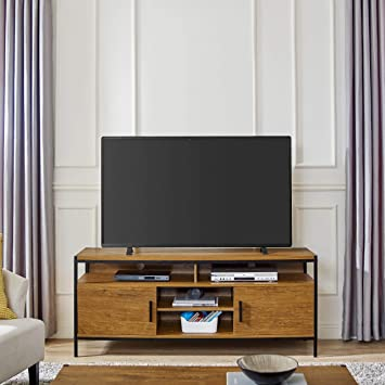 Wide Entertainment Center Tv Media Stand By Caffoz Furniture Designs With Two Doors And Storage Shelves Sturdy Easy Assembly Brown Oak Wood Look Accent Furniture With Metal Frame Electronics