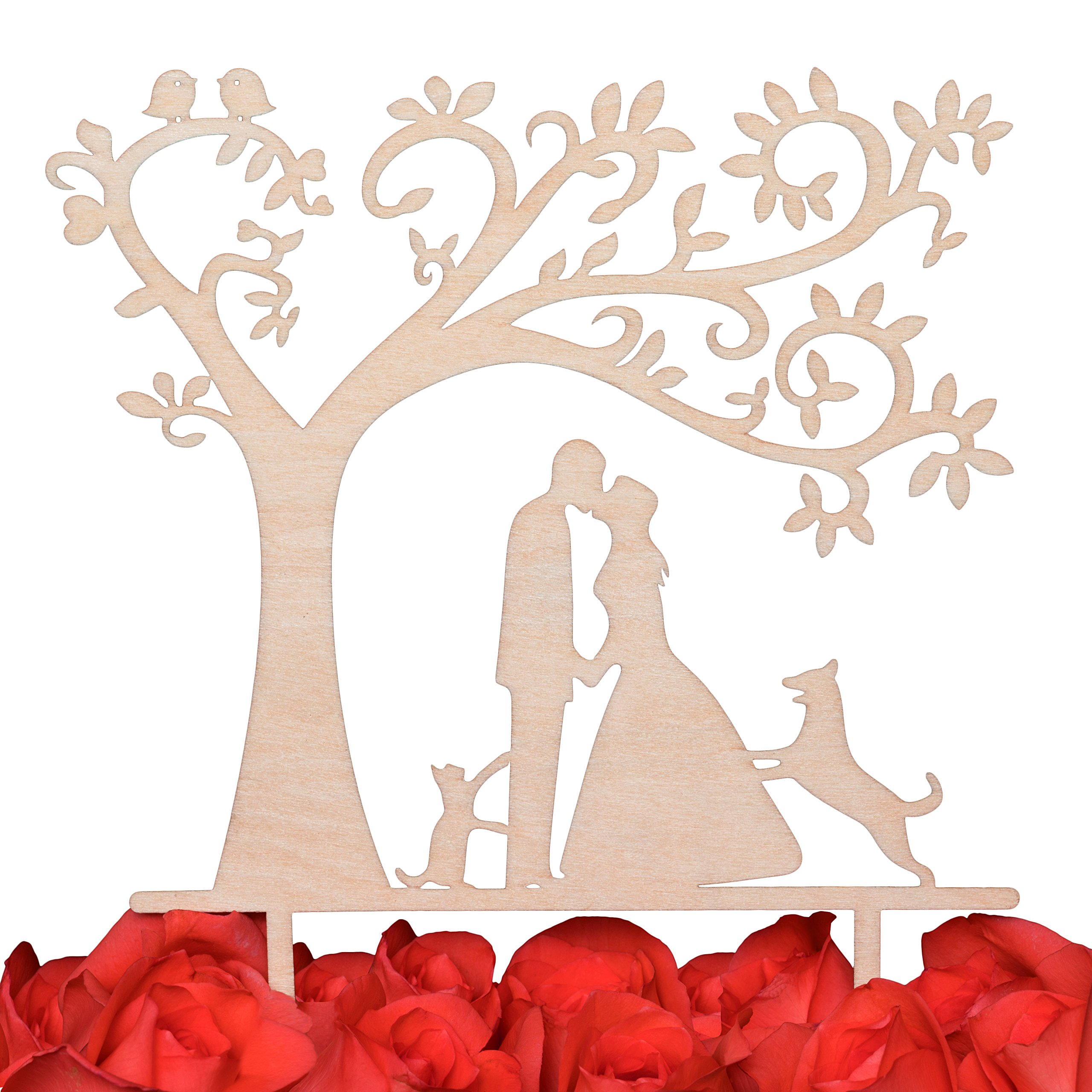 LOVENJOY Gift Box Pack Bride and Groom with Dog and Cat Silhouette Tree Wedding Engagement Cake Topper Rustic Wood (5.3-inch)