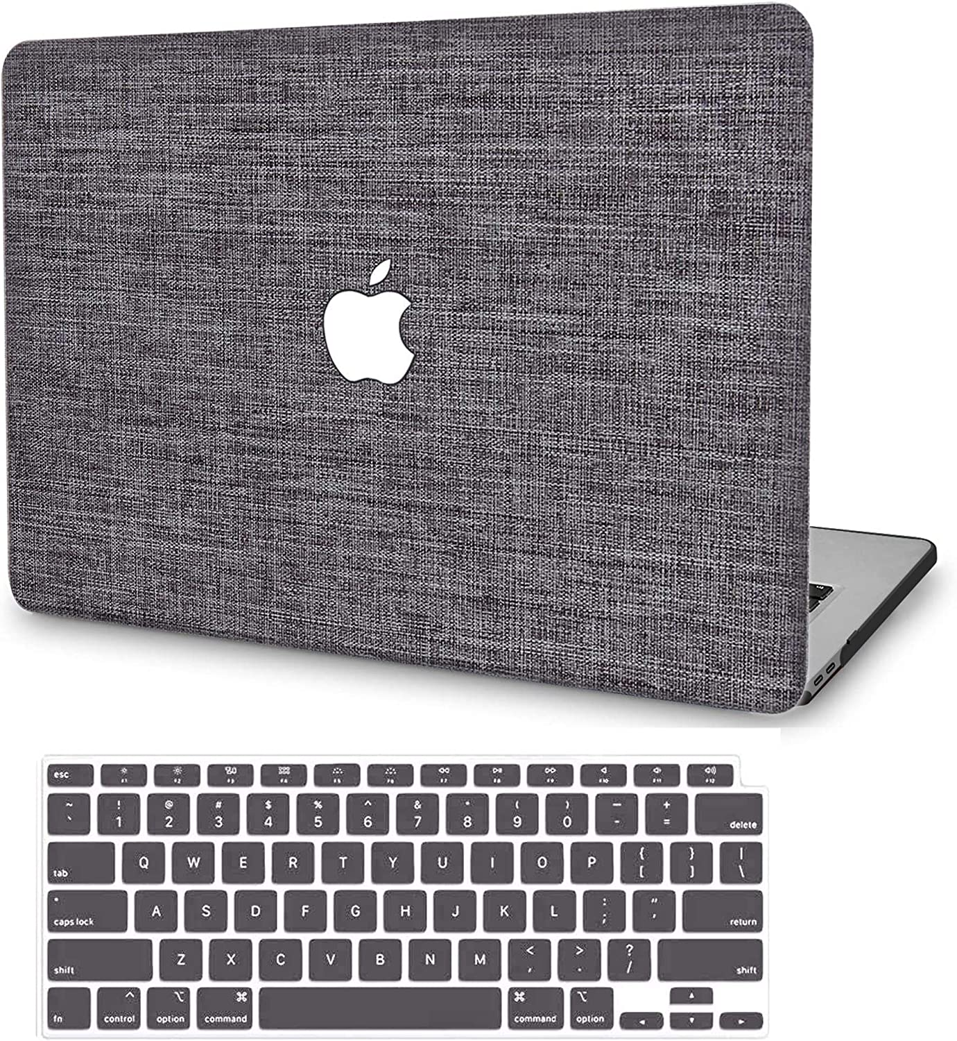 MacBook Air 13 Inch Case 2020 2019 2018 Release A2179 A1932, G JGOO MacBook Air 2020 Case, Soft Touch Fabric Hard Shell Case with Keyboard Cover for Mac Air 13.3 with Retina Display & Touch ID, Grey