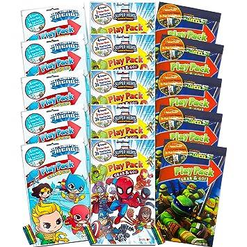 Superhero Party Favor Packs Super Set ~ Bundle of 15 Superhero Coloring Books and Stickers Featuring DC Comics, Marvel, and Teenage Mutant Ninja ...
