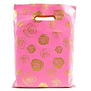 Merchandise Bags 9x12-100 Pack - Gold Roses - Glossy Retail Bags - Shopping Bags for Boutique - Boutique Bags - Plastic Shopping Bags