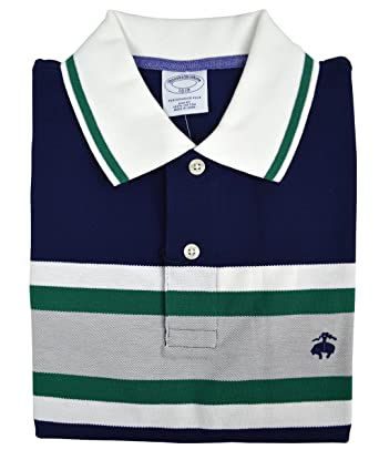 Brooks Brothers Men\u0027s Slim Fit Performance Colorblocked Striped Polo Shirt  Navy Blue (Large)