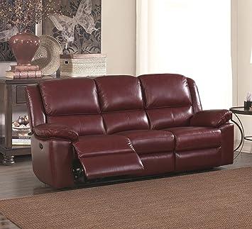 Sc Furniture Ltd Burgundy Red High Grade Leather Electric Reclining