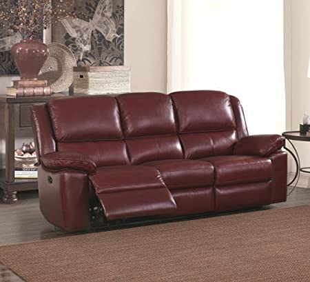 Burgundy Red High Grade Leather Electric Reclining 3 Seater Sofa 2 Seater  Leather Electric Recliner Sofa