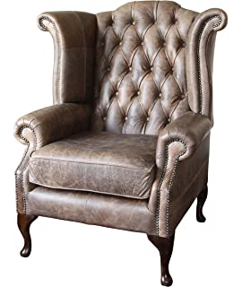 handmade queen anne high back wing chair in vintage brown leather