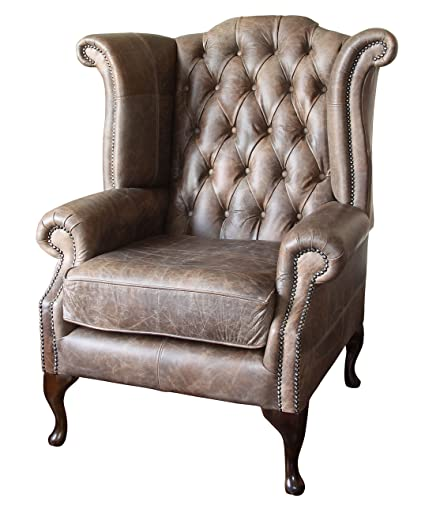 Admirable Sofa Manufacturing Handmade Chesterfield Queen Anne High Back Wing Chair In Vintage Brown Leather Theyellowbook Wood Chair Design Ideas Theyellowbookinfo