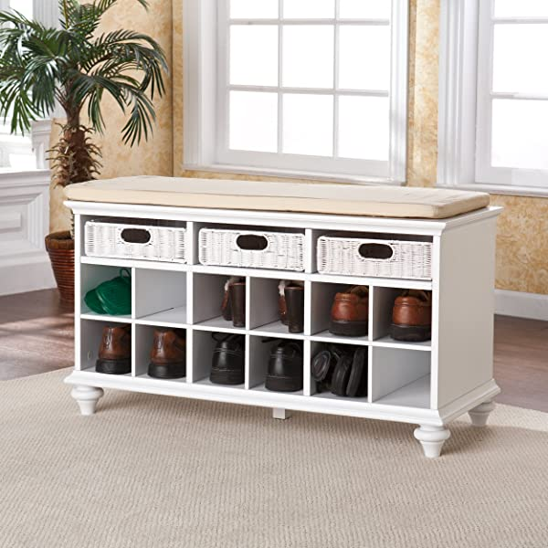 Southern Enterprises Chelmsford Entryway Shoe Storage Bench, White Finish