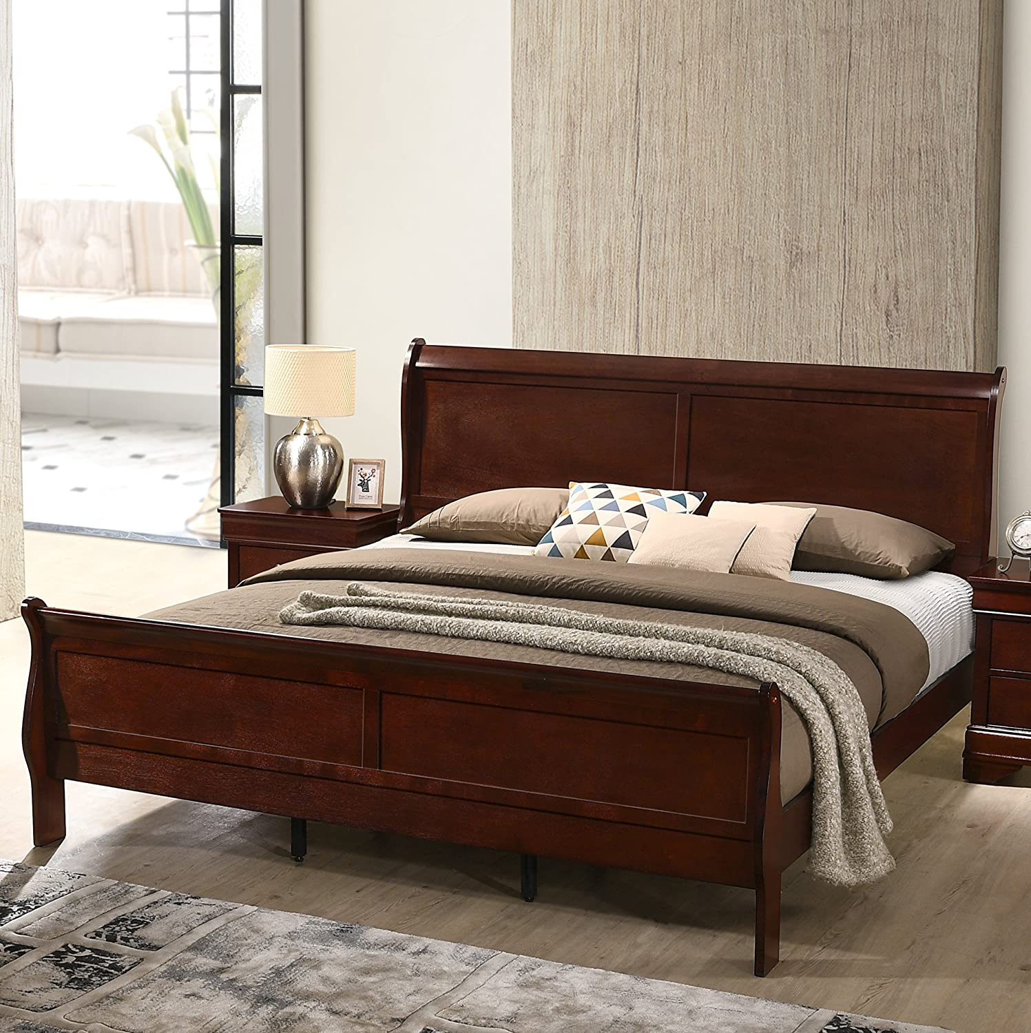 Amazon com roundhill furniture isola louis philippe style wood sleigh bed queen cherry finish kitchen dining