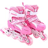 Girls Inline Skates Adjustable Rollerblades for Kids Girls Illuminating Wheel the Premium Breathable Mesh Roller Skates Double Secure Lock