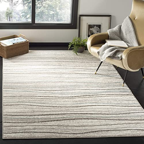 Safavieh Amsterdam Collection AMS111A Modern Stripe Wave Non-Shedding Stain Resistant Living Room Bedroom Area Rug