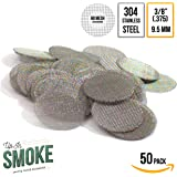 """Up in Smoke Pipe Screens Made in the USA 304 Stainless Steel 3/8 inch (.375"""") Premium Pipe Filters (50 Pack)"""